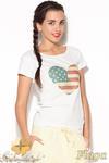 CM0885 KATRUS K177 Klasyczna bluzka z oryginalnym nadrukiem - flaga w sklepie internetowym Cudmoda