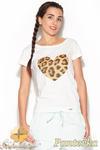 CM0885 KATRUS K177 Klasyczna bluzka z oryginalnym nadrukiem - panterka w sklepie internetowym Cudmoda