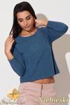 CM0886 KATRUS K158 Asymetryczna gładka bluzka z długim rękawem - niebieska w sklepie internetowym Cudmoda