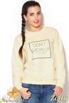 CM0888 KATRAS K188 Bluza damska w pastelowych kolorach z nadrukiem - żółta w sklepie internetowym Cudmoda
