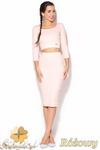 CM0889 KATRUS K185 Komplet spódnica midi ołówkowa + mini bluzka - różowy w sklepie internetowym Cudmoda