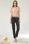 CM0903 NIFE SD12 Eleganckie spodnie damskie z kontrastowym pasem - granatowe w sklepie internetowym Cudmoda