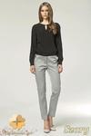 CM0903 NIFE SD12 Eleganckie spodnie damskie z kontrastowym pasem - szare w sklepie internetowym Cudmoda
