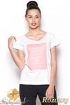 CM0910 FIGL M296 Koszulka damska z napisem - różowy nadruk w sklepie internetowym Cudmoda