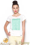 CM0910 FIGL M296 Koszulka damska z napisem - zielony nadruk w sklepie internetowym Cudmoda