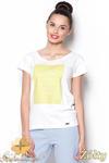 CM0910 FIGL M296 Koszulka damska z napisem - żółty nadruk w sklepie internetowym Cudmoda