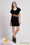 CM0938 LANTI SUK101 Sukienka tunika z dzianiny z krótkim luźnym rękawem - czarna w sklepie internetowym Cudmoda