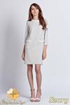 CM0939 LANTI SUK103 Sukienka z kontrastową lamówką przy kołnierzy i kieszenią - szara w sklepie internetowym Cudmoda