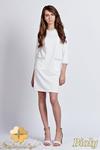 CM0939 LANTI SUK103 Sukienka z kontrastową lamówką przy kołnierzy i kieszenią - biała w sklepie internetowym Cudmoda