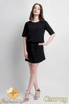 CM0945 SUK113 Sukienka z koronkową wstawką wiązana w pasie - czarna w sklepie internetowym Cudmoda