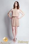 CM0945 SUK113 Sukienka z koronkową wstawką wiązana w pasie - beżowa w sklepie internetowym Cudmoda