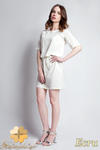 CM0945 SUK113 Sukienka z koronkową wstawką wiązana w pasie - ecru w sklepie internetowym Cudmoda