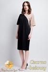 CM0946 SUK114 Koronkowa sukienka z asymetryczną wstawką - czarno - beżowa w sklepie internetowym Cudmoda