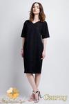 CM0946 SUK114 Koronkowa sukienka z asymetryczną wstawką - czarna w sklepie internetowym Cudmoda