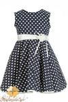 MA064 Dziewczęca sukienka w groszki z lamówką w sklepie internetowym Cudmoda