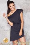 CM0949 INFINITE YOU M001 Asymetryczna sukienka tunika z dresowej tkaniny - grafitowa w sklepie internetowym Cudmoda