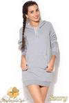 CM0958 KATRUS K189 Sukienka tunika w sportowym stylu z kapturem - szara w sklepie internetowym Cudmoda