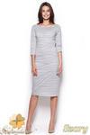 CM0966 FIGL M311 Dopasowana sukienka midi w paseczki - szara w sklepie internetowym Cudmoda