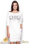 CM0967 FIGL M312 Sukienko tunika z nadukiem i kieszeniami - ecru w sklepie internetowym Cudmoda
