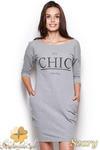 CM0967 FIGL M312 Sukienko tunika z nadukiem i kieszeniami - szara w sklepie internetowym Cudmoda