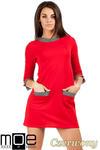 CM0979 Sukienka tunika retro w stylu lat 60 - czerwona w sklepie internetowym Cudmoda