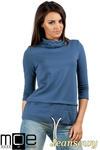 CM0988 Sportowa bluza damska z golfem - jeansowa w sklepie internetowym Cudmoda