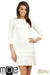 CM0983 Elegancka sukienka mini z falbanką - ecru w sklepie internetowym Cudmoda