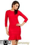 CM0983 Elegancka sukienka mini z falbanką - czerwona w sklepie internetowym Cudmoda