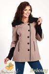 CM0361 Krótki jednorzędowy płaszczyk z flauszu - beżowy w sklepie internetowym Cudmoda