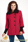 CM0361 Krótki jednorzędowy płaszczyk z flauszu - czerwony w sklepie internetowym Cudmoda