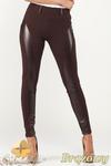 CM0999 Legginsy spodnie z wysokim stanem i skórzanym pasem na nogawkach - brązowe w sklepie internetowym Cudmoda