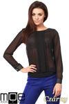 CM1009 Szyfonowa bluzka w kropeczki z długim rękawem - czarna w sklepie internetowym Cudmoda