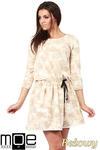 CM1025 Rozkloszowana sukienka batik z rękawami 3/4 - beżowa w sklepie internetowym Cudmoda