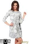 CM1025 Rozkloszowana sukienka batik z rękawami 3/4 - szara w sklepie internetowym Cudmoda
