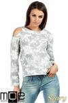 CM1026 Oryginalna bluza z dzianiny batik z długimi rękawami i odkrytym ramieniem - szara w sklepie internetowym Cudmoda
