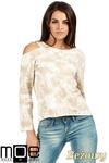 CM1026 Oryginalna bluza z dzianiny batik z długimi rękawami i odkrytym ramieniem - beżowa w sklepie internetowym Cudmoda