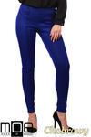CM1027 Spodnie rurki z przeszyciami i złotymi zamkami - chabrowe w sklepie internetowym Cudmoda