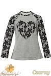 MA082 Dziewczęca bluzeczka z koronkowym sercem i rękawami - czarna w sklepie internetowym Cudmoda