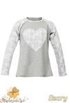 MA082 Dziewczęca bluzeczka z koronkowym sercem i rękawami - szara w sklepie internetowym Cudmoda