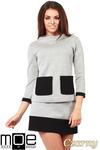 CM1035 Bluza damska z pianki ze stójką i kontrastowymi kieszeniami - czarna w sklepie internetowym Cudmoda