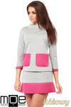 CM1035 Bluza damska z pianki ze stójką i kontrastowymi kieszeniami - różowa w sklepie internetowym Cudmoda
