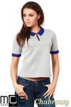 CM1036 Kobieca bluzka z kołnierzykiem - chabrowa OUTLET w sklepie internetowym Cudmoda