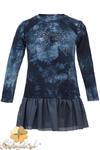 MA086 Dziewczęca sukienka tunika batik skórzana falbanka - granatowa w sklepie internetowym Cudmoda