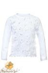 MA094 Dziewczęca bluzeczka w płatki z długim rękawem - biała w sklepie internetowym Cudmoda
