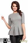 CM1090 Dopasowana bluzka damska z plisowaną baskinką - szara w sklepie internetowym Cudmoda