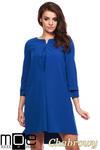 CM1150 Rozkloszowana sukienka na podszewce szeroki rękaw - chabrowa w sklepie internetowym Cudmoda