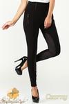 CM1182 Damskie spodnie bryczesy ze wstawkami zamszowymi - czarne w sklepie internetowym Cudmoda