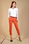 CM0043 Spodnie chinosy z paskiem - ceglaste w sklepie internetowym Cudmoda