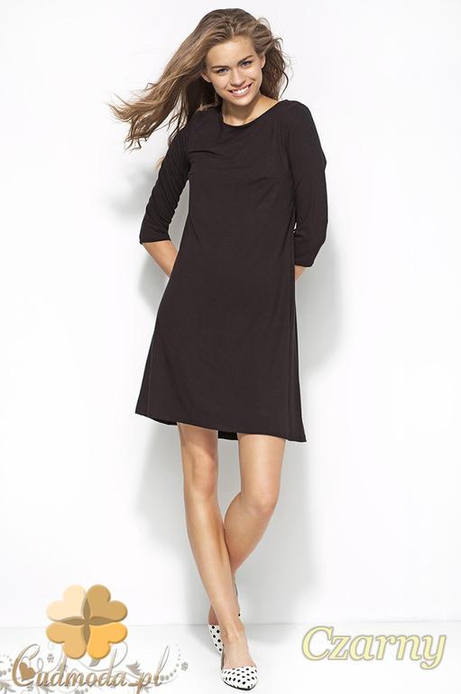 f8e61d310c CM1175 Asymetryczna sukienka z rękawem 3 4 - czarna w sklepie internetowym  Cudmoda. Powiększ zdjęcie