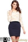 CM1222 Komplet 2 w 1 - sukienka mini + bluzka z dekoltem - granatowy w sklepie internetowym Cudmoda